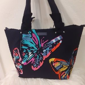 Butterflies embroidered tote Vera Bradley RARE HTF